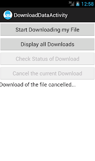 Android DownloadManager download cancelled