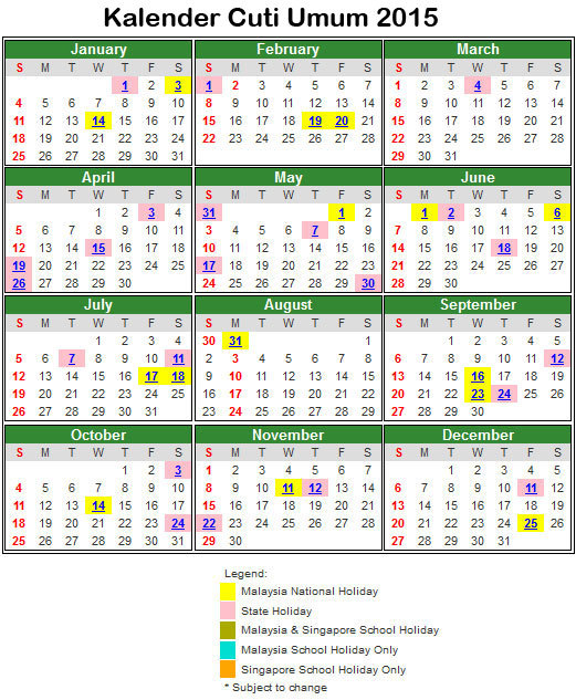 Kalender Cuti Umum Dan Cuti Sekolah Malaysia 2015