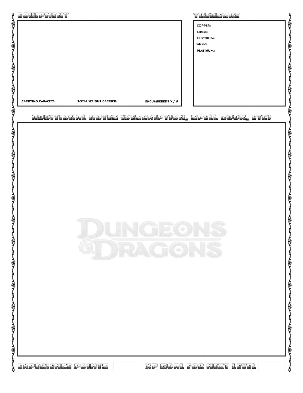 ad&d 1st edition character sheet pdf