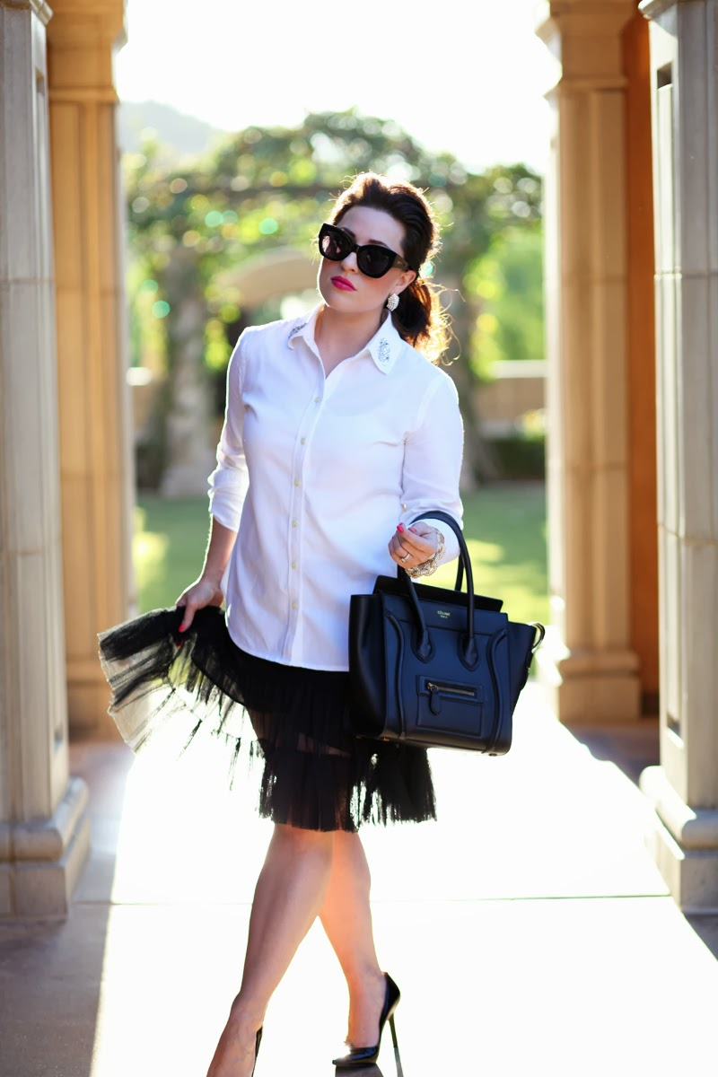 king-and-kind-blog-2014-fashion-trends-celine-bag-anthropologie-tulle-slip-banana-republic-button-up-karen-walker-northern-lights-sunglasses-mac-pink-lipstick