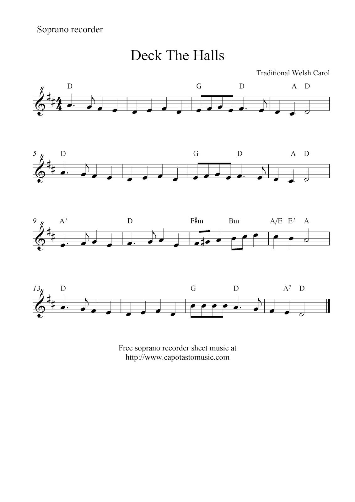 Deck The Halls Piano Sheet Music Deck the halls, free christmas