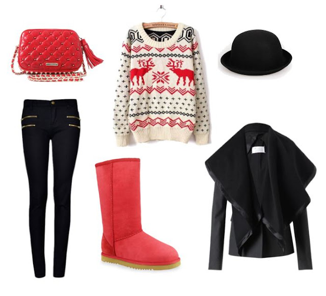 Red classic tall outfit AUKOALA UGG BOOTS INTERNATIONAL LIMITED, UGG boots, boots, red christmas sweater and sheerling jacket, red purse, red Ugg Aukoala Boots