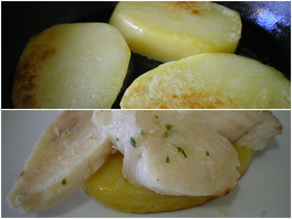 Merluza con langostinos y almejas sobre patata confitada.Emplatado