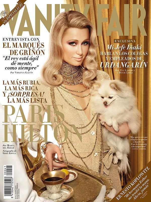 Paris Hilton's plastic Vanity Fair Spain, February 2012 cover