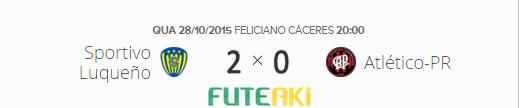 O placar de Sportivo Luqueño 2x0 Atlético-PR pelas quartas de final da Copa Sul-Americana 2015