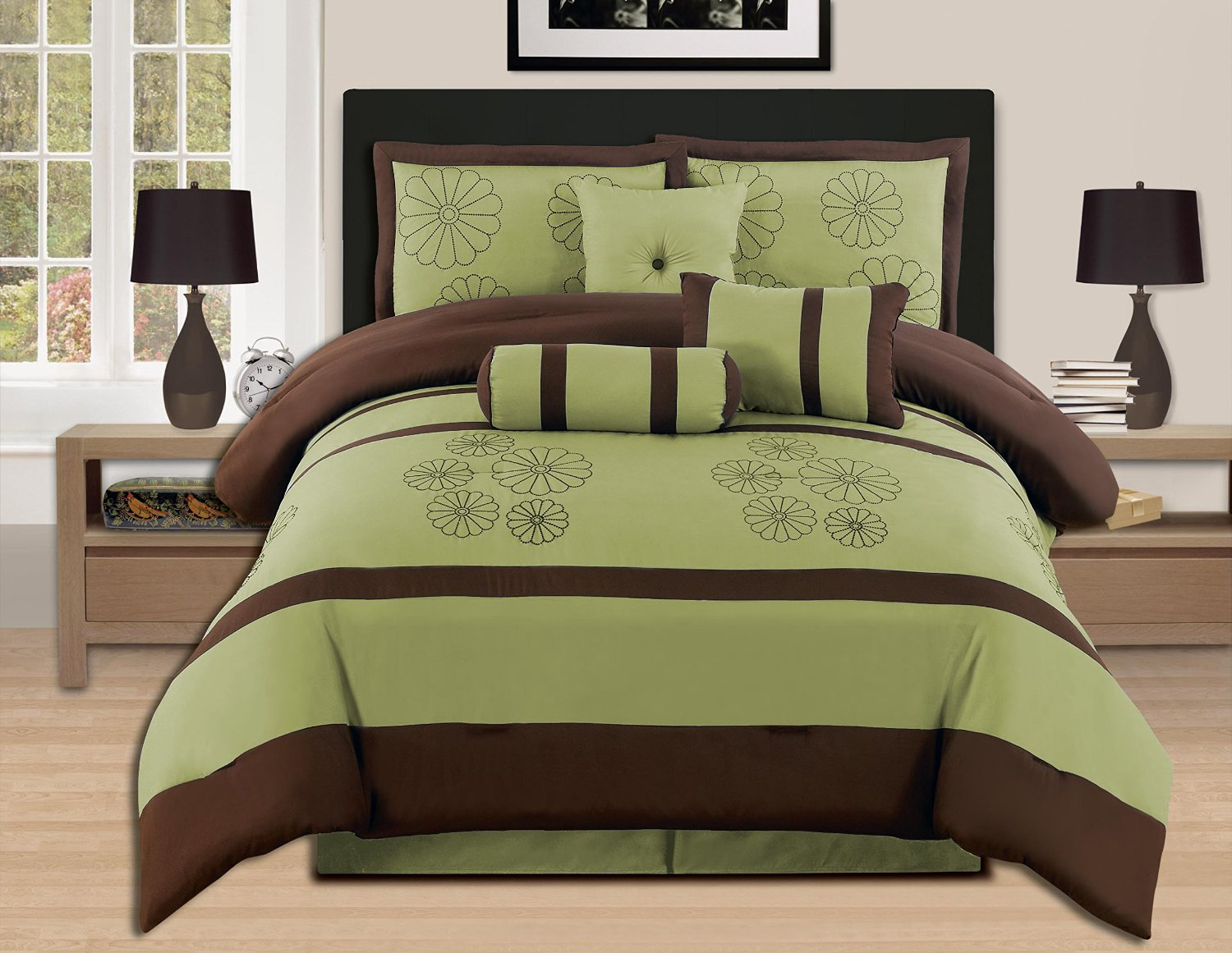 Green bed sheets texture - Olive Green Bedding 7 Pce Olive And Brown Comforter Set