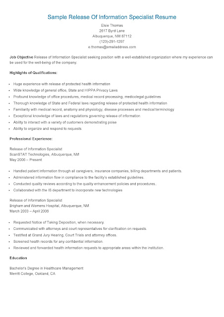 resume samples  sample release of information specialist