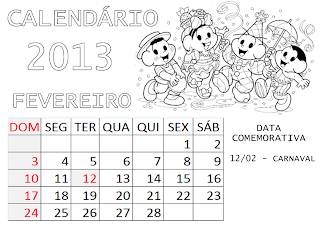 calendário turma da monica fevereiro 2013