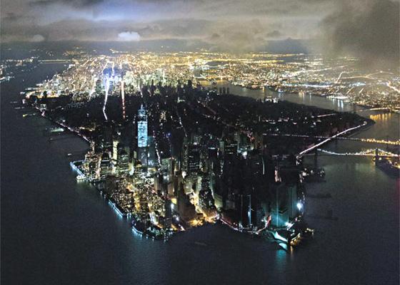 Vista nocturna de Manhattan
