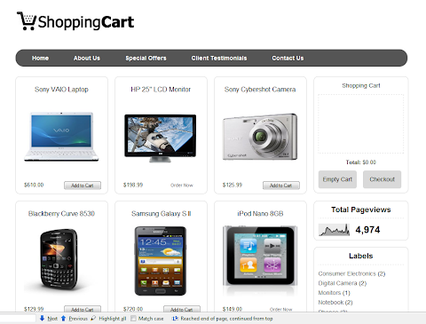 Shopping Cart Blogger Theme