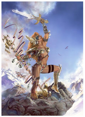 warrior queen of the seagulls on mountain with sword