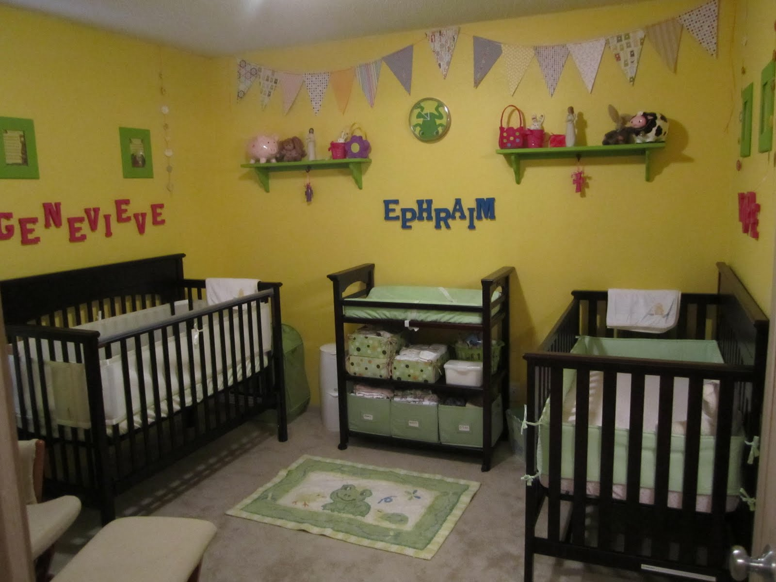 Crib for triplet babies - We Have The Two Cribs Put Up Although I Figure They Will Sleep In The Same One For Awhile We Put Ephraim S Name On The Wall