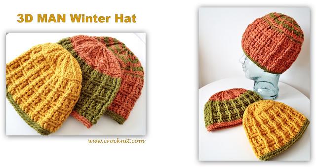 crochet pattern, hats, beanies, men, winter, family