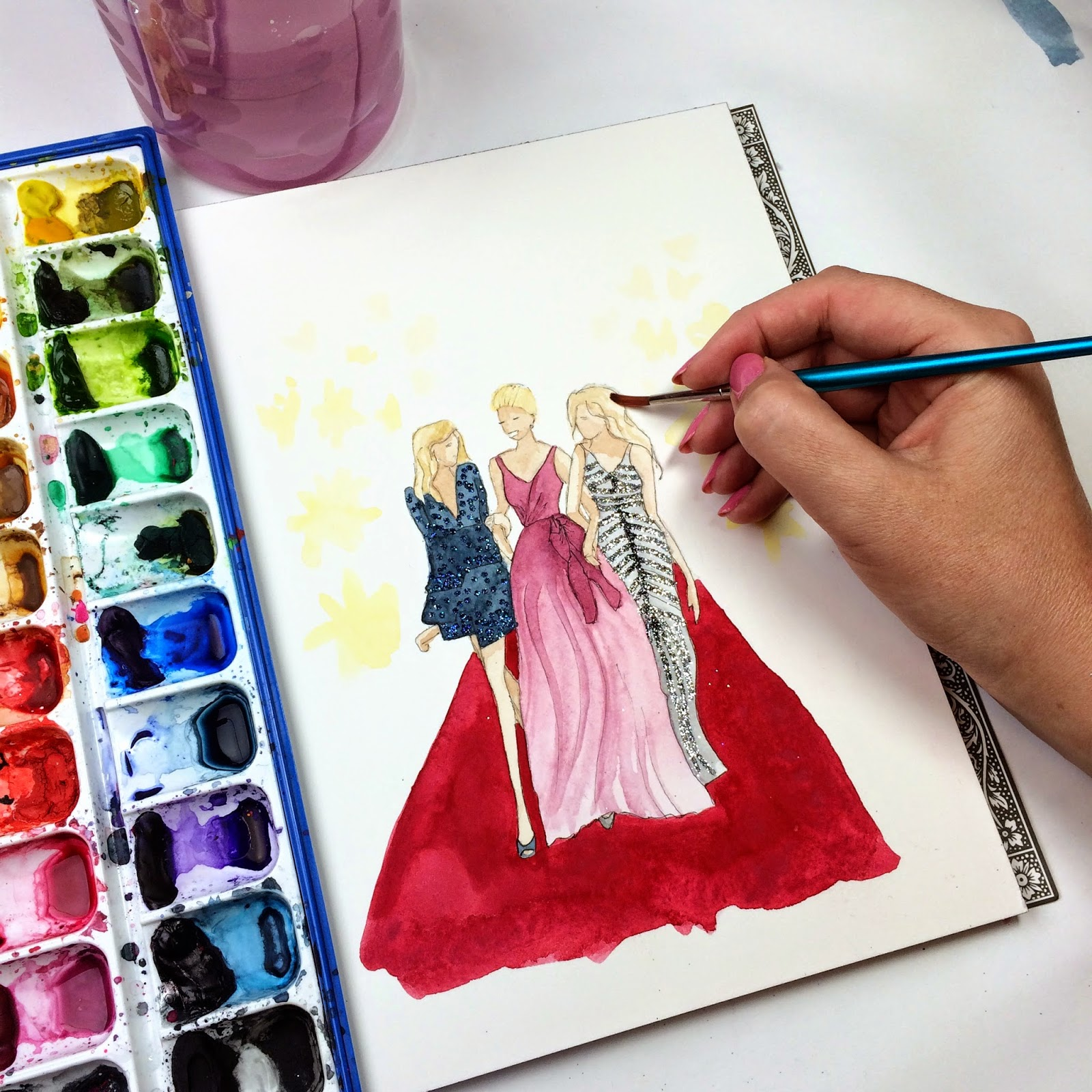 Emmys red carpet gowns in watercolor fashion illustration by Jessica Mack aka BrownPaperBunny