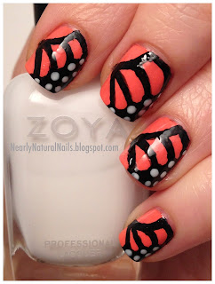 Monarch butterfly nail art, 31 day nail challenge, day 30, butterflies manicure, orange nails, dotting nail art, mineral fusion nail polish obsidian, Julep Sasha, Zoya Snow White, big 3 free nail polish, natural nail polish,