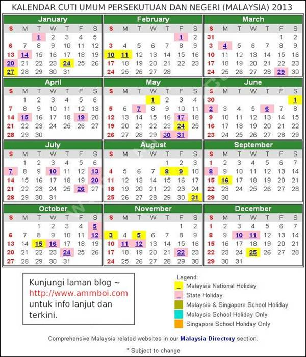 akan kongsikan semua senarai cuti umum 2013 dan takwim sekolah 2013 ok