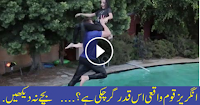 A very dangerous stunt at swimming Pool
