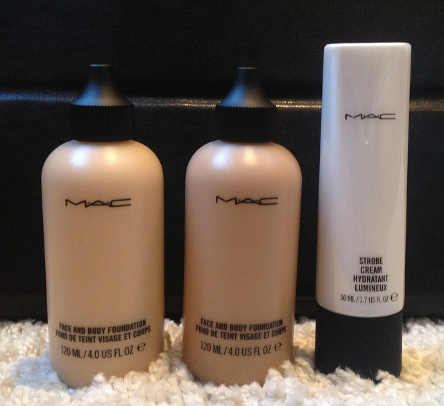 L-R - Face and body foundation in C1 and C5, Strobe Cream.