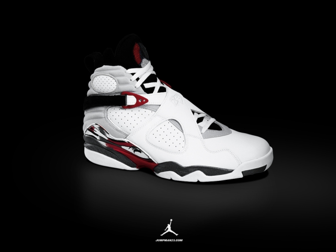 AIR JORDAN VIII: 1992 - 1993 (February 1993, $ 140) AIR JORDAN VIII is the  first use of anti-reverse-style collar-shaped stacked leather material shoes,  ...