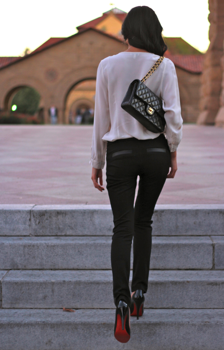 leather trim trouser pants work outfit idea