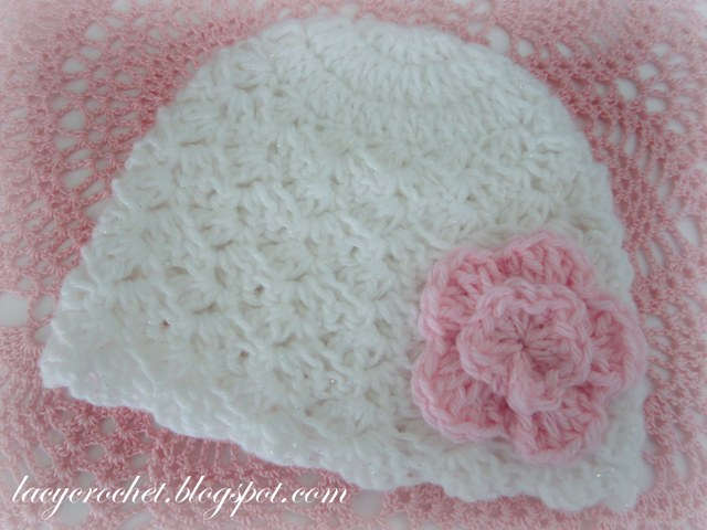 Lacy Crochet White Newborn Hat