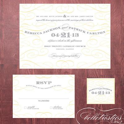 typographic printable diy yellow gray wedding invitation