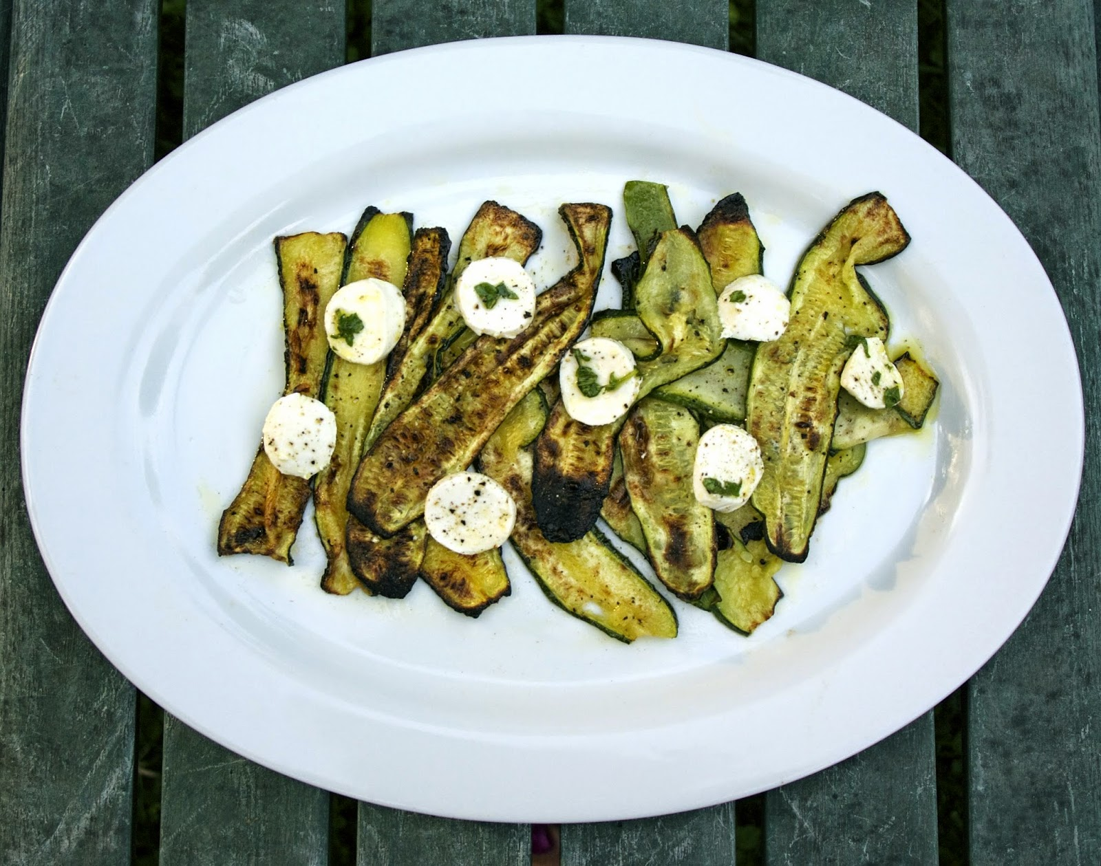 Roasted Zucchini with Mozzarella- simplelivingeating.com