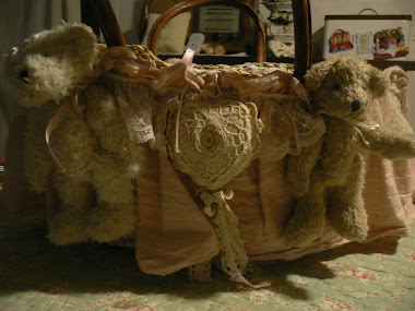 orsetti e cuore uncinetto per borsetta shabby