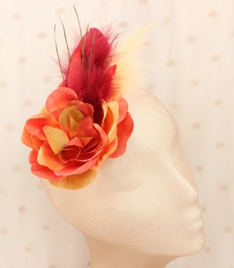 Colección Comemeriendas - Tocado Bouquet naranja mini