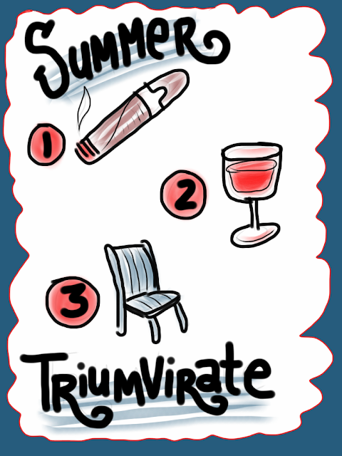 Summer triumvirate. Cigar, wine, lawn chair. Critical summer items. illustration, hand-lettering, sketchbook, iPad.