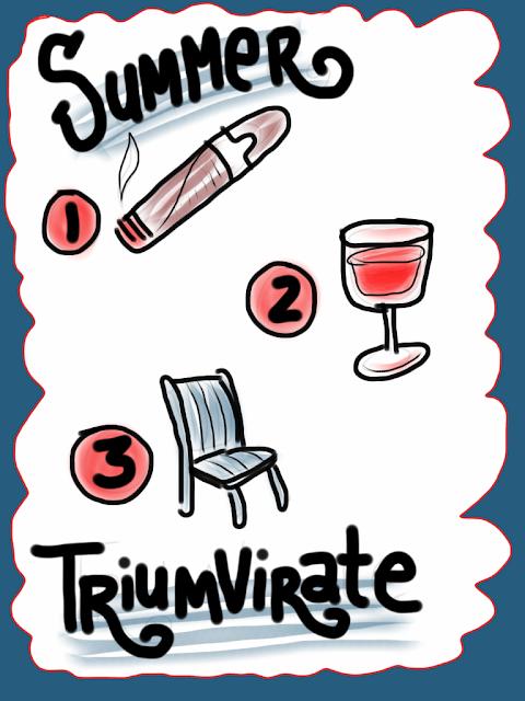 Summer triumvirate. Cigar, wine, lawn chair. Critical summer items. illustration, hand-lettering, sketchbook, iPad.
