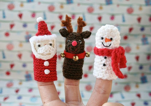 marionetas de dedo de navidad papa noel reno y muñeco de nieve
