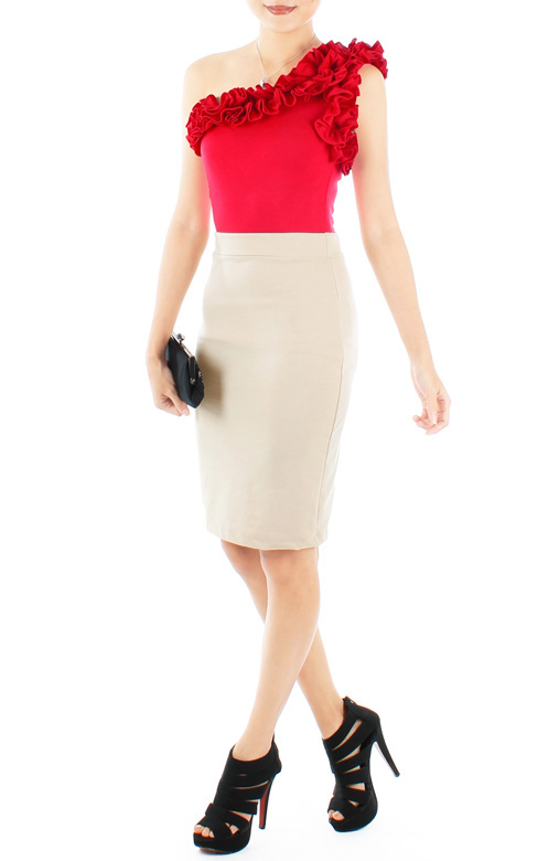 Ivory Pencil Skirt in Knee Length