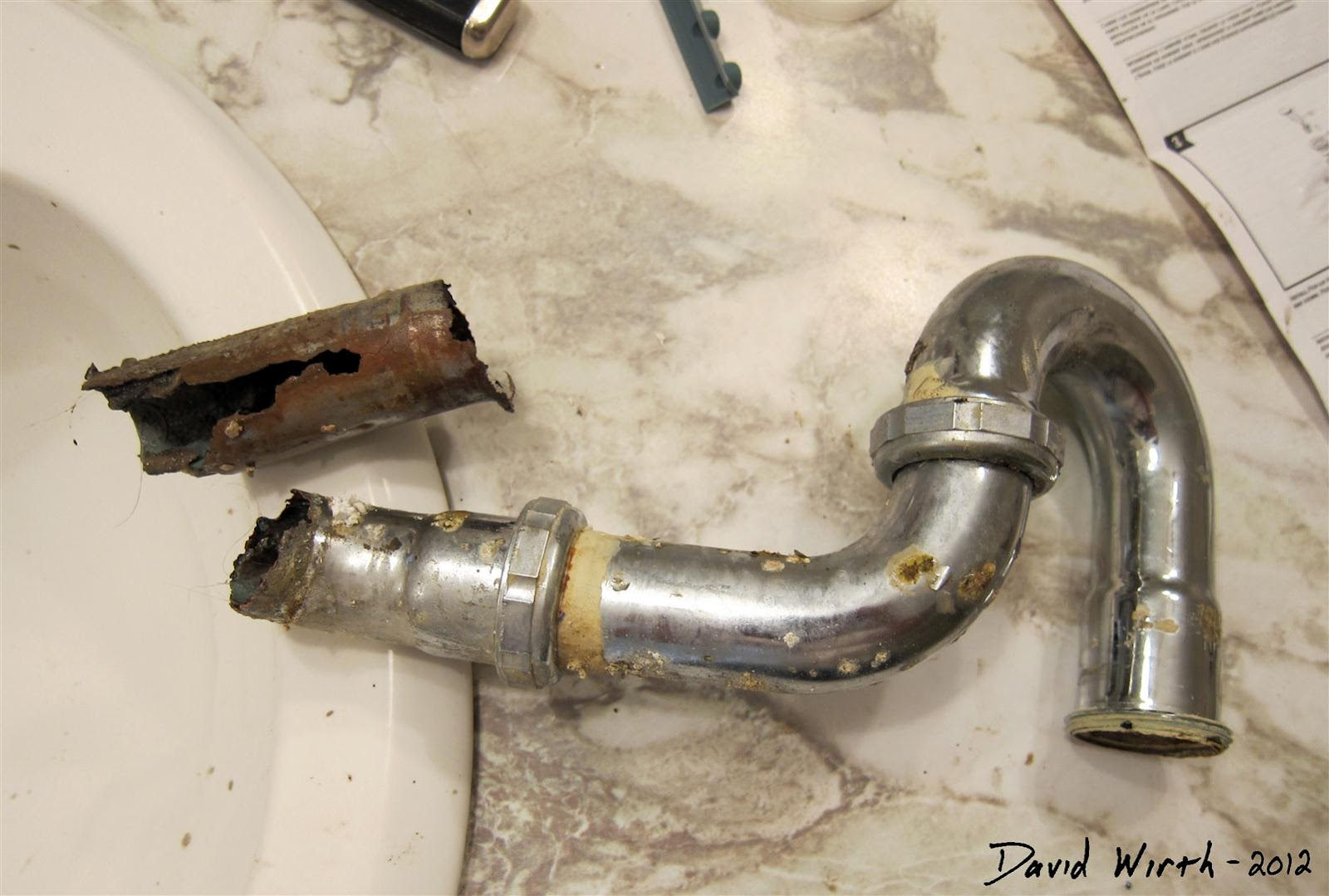 Rusted Broken Bathroom Sink Drain Metal Pipe U Bend