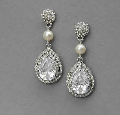 crystal teardrop bridal earrings