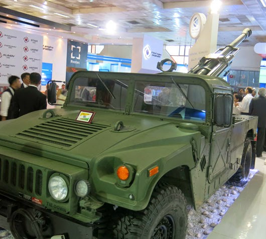 Garuda 105 can be mounted on light tactical vehicles such as this HMMWV