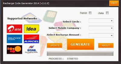Mobile Recharge Code Generator 2014 [US, FR, IN, JP, DE] main screen