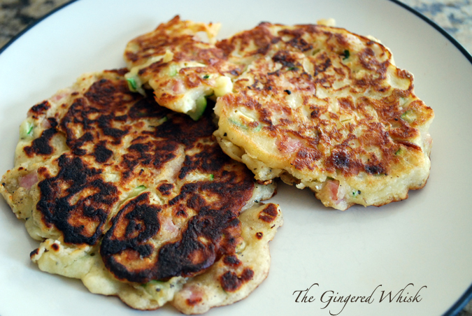The Gingered Whisk: Zucchini Ham and Ricotta Fritters