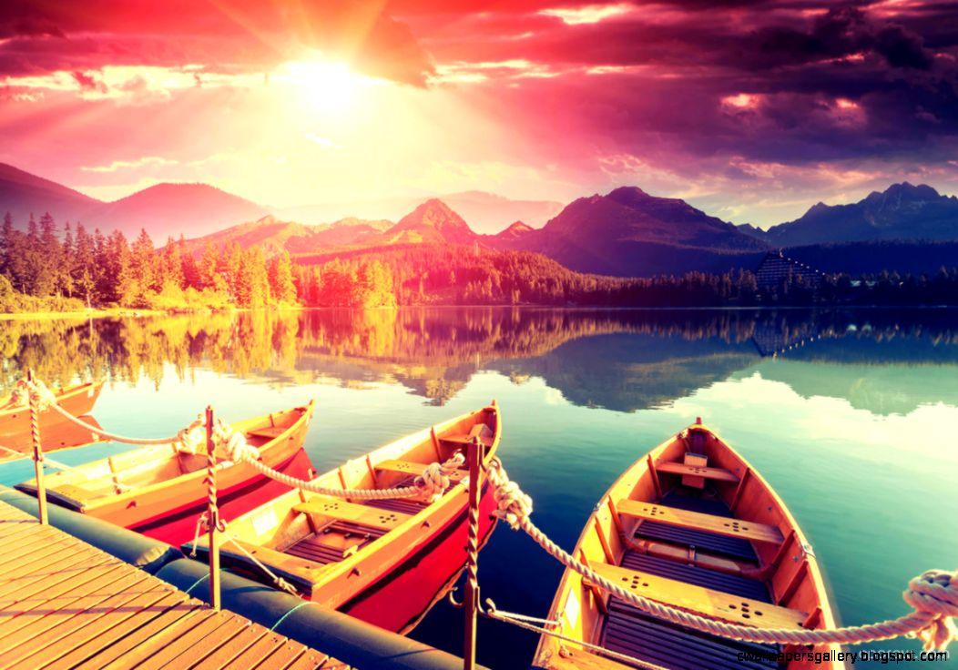 Sunrise Over Strbske Pleso Mountain Lake Wallpaper download