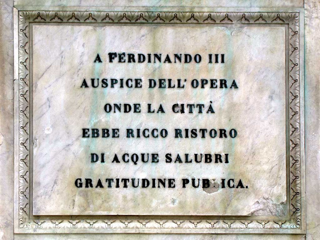 Inscription on the monument to Ferdinand III, Grand Duke of Tuscany, piazza della Repubblica, Livorno