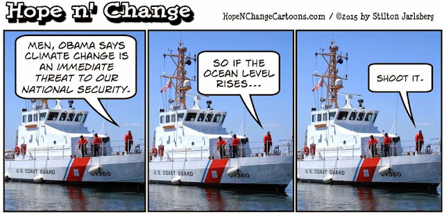 obama, obama jokes, political, humor, cartoon, conservative, hope n' change, hope and change, stilton jarlsberg, coast guard, climate change, national security