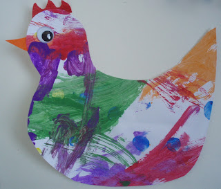 A hen made from a child's painting