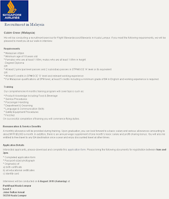 Singapore Airlines - Cabin Crew (Malaysia) - Walk in Interview