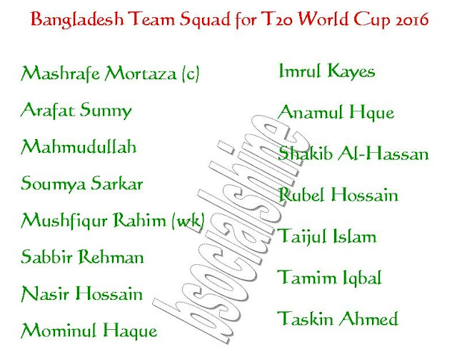 Bangladesh Team Squad for T20 World Cup 2016,all teams squad for t20 world cup 2016,player list for t20 world cup,Bangladesh team player,Bangladesh 11,player list.,ICC T20 World Cup 2016 Bangladesh team squad,Bangladesh team for t20 world cup 2016,final 11 player,Bangladesh final 11 player for t20 world cup 2016,Bangladesh team squad 2016,confirmed bangladesh team squad for t20 world cup 2016,2016 ICC World Twenty20,BN player list,team squad ICC T20 World Cup 2016 Bangladesh Team Squad Bangladesh Players List : Mashrafe Mortaza (c), Arafat Sunny, Mahmudullah, Soumya Sarkar, Mushfiqur Rahim (wk), Sabbir Rehman, Nasir Hossain, Mominul Haque, Imrul Kayes, Anamul Hque, Shakib Al-Hassan, Rubel Hossain, Taijul Islam, Tamim Iqbal, Taskin Ahmed,
