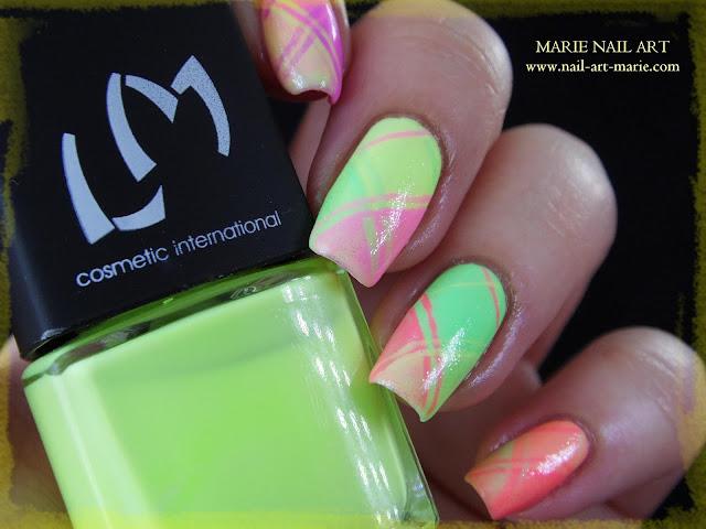 Nail Art Ecossais Pastel Fluo5