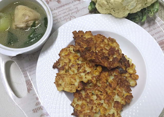 a photo of Cheese-y Cauliflower Fritters
