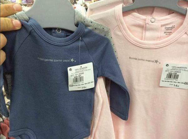 Bodies para bebés en Hipercor retirados por sexistas, machismo