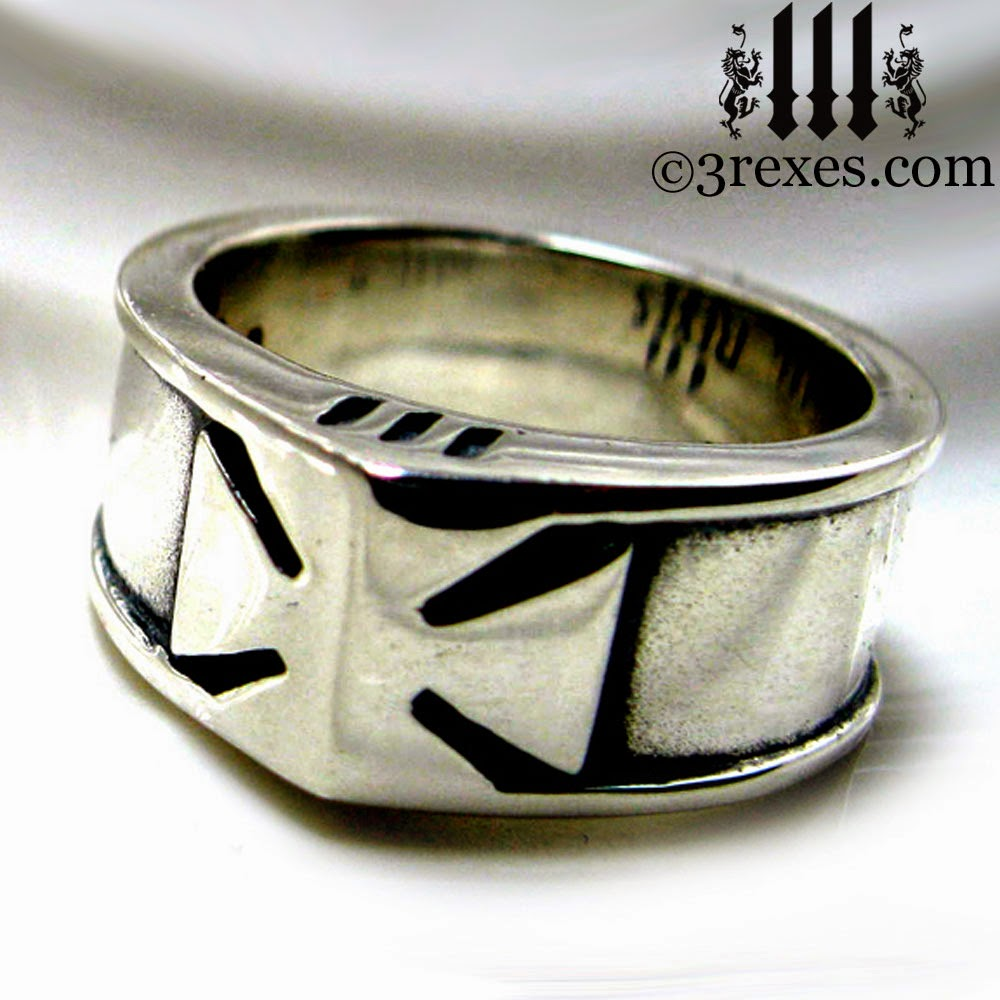 mens silver knights templar cross ring