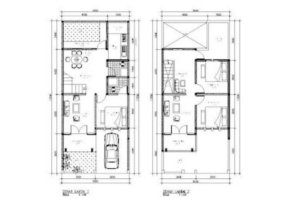 bentuk denah 3 kamar mandi 2 lantai populer