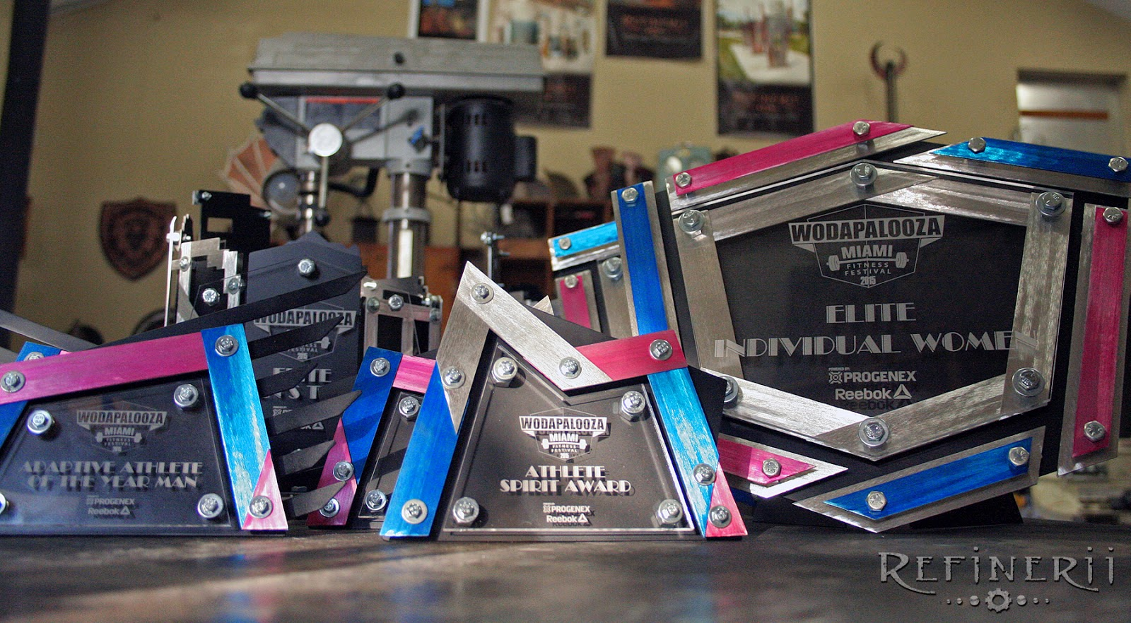Custom Metal Trophies created for the Wodapalooza Fitness Festival 2015 in Miami.  www.refinerii.net